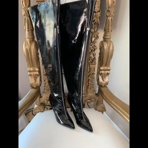 New Thigh High Black Zipper Boots Size 10